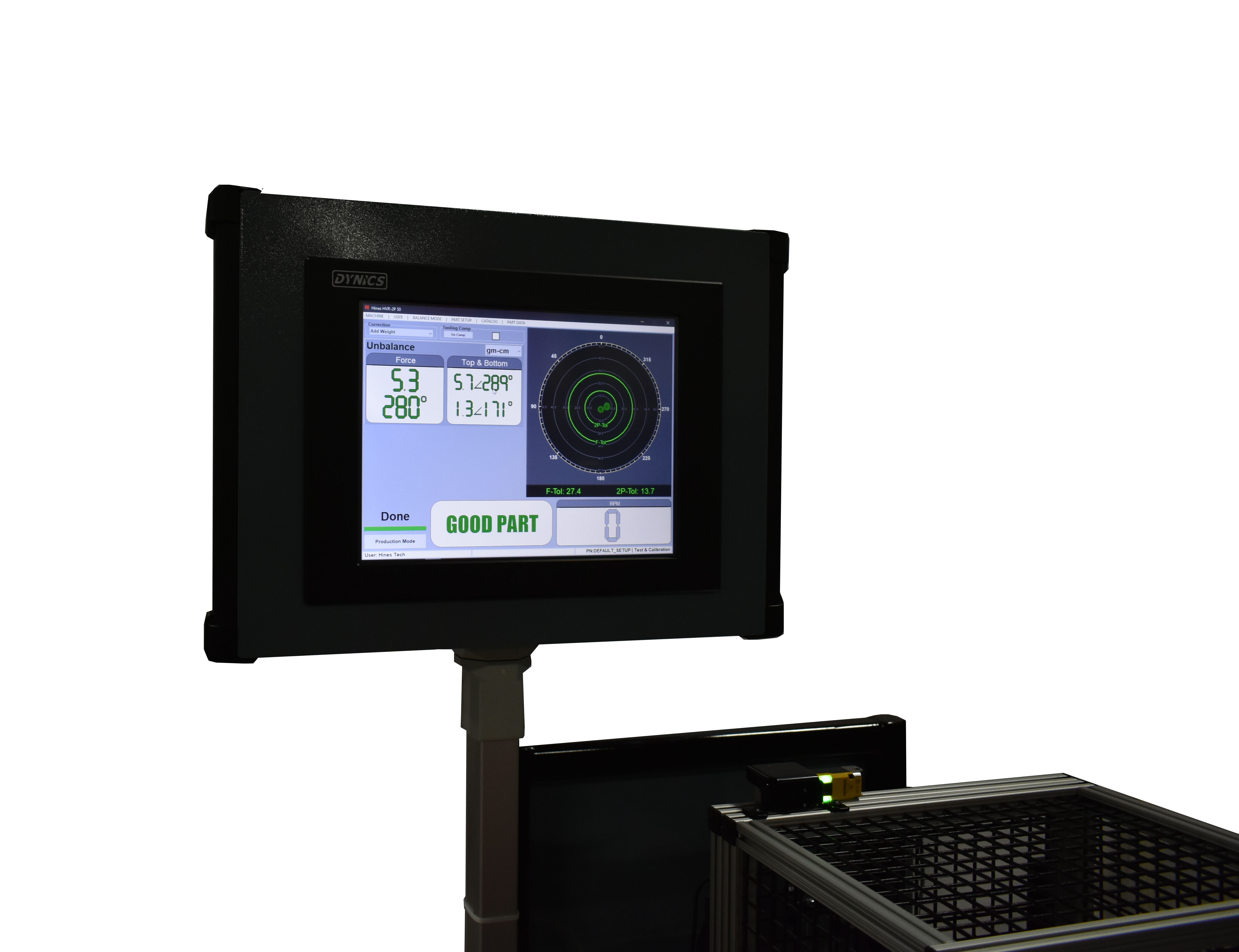 Hines balancing machine software for lidar balancing